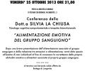 """Conferenza """"ALIMENTAZIONE EMOTIVA DEL GRUPPO SANGUIGNO"""" della Dott.a SILVIA LA CHIUSA – VENERDI' 25 OTTOBRE 2013 ORE 21,00 PRESSO LA BIBLIOTECA COMUNALE DI PESSANO CON BORNAGO, VIA UMBERTO I, 3"""