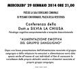 """Conferenza della Dott.a SILVIA LA CHIUSA """"ALIMENTAZIONE EMOTIVA  DEL GRUPPO SANGUIGNO"""" – MERCOLEDI' 29 GENNAIO 2014 ORE 21,00 PRESSO LA SALA CONSILIARE COMUNALE DI PESSANO CON BORNAGO, PIAZZA DELLA RESISTENZA"""