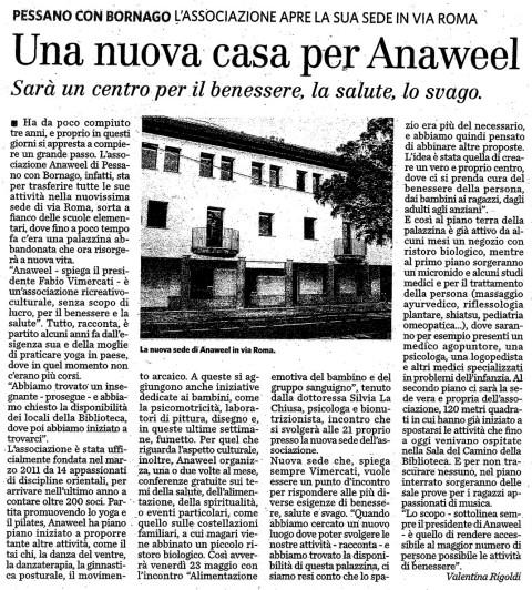 Articolo del settimanale Radar sulla nuova sede dell'Associazione Anaweel