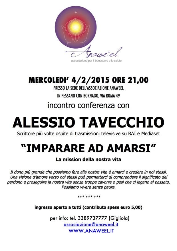 """Conferenza con ALESSIO TAVECCHIO """"IMPARARE AD AMARSI"""" – MERCOLEDI' 4/2/2015 ORE 21,00"""