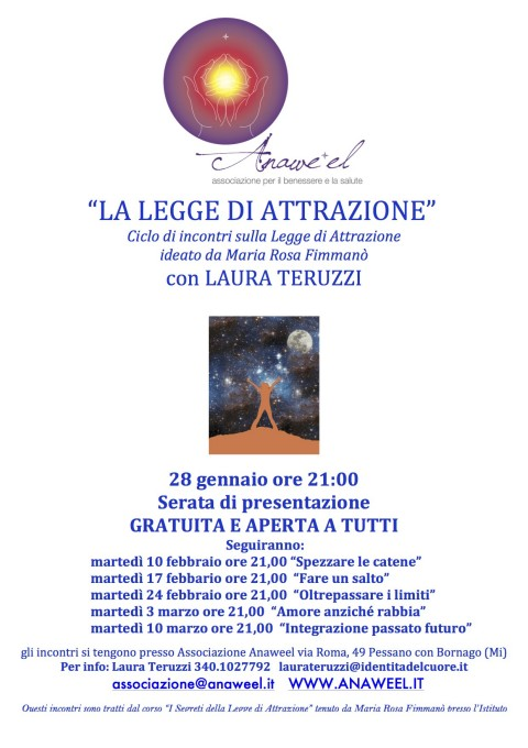"""""""LA LEGGE DI ATTRAZIONE"""" – 28 gennaio ore 21:00 Serata di presentazione GRATUITA E APERTA A TUTTI"""