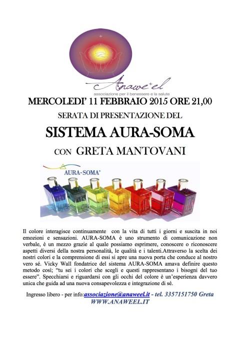 SERATA DI PRESENTAZIONE DEL SISTEMA AURA-SOMA CON GRETA MANTOVANI – MERCOLEDI' 11 FEBBRAIO 2015 ORE 21,00