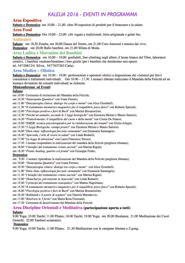 KALELIA 2016 – EVENTI IN PROGRAMMA