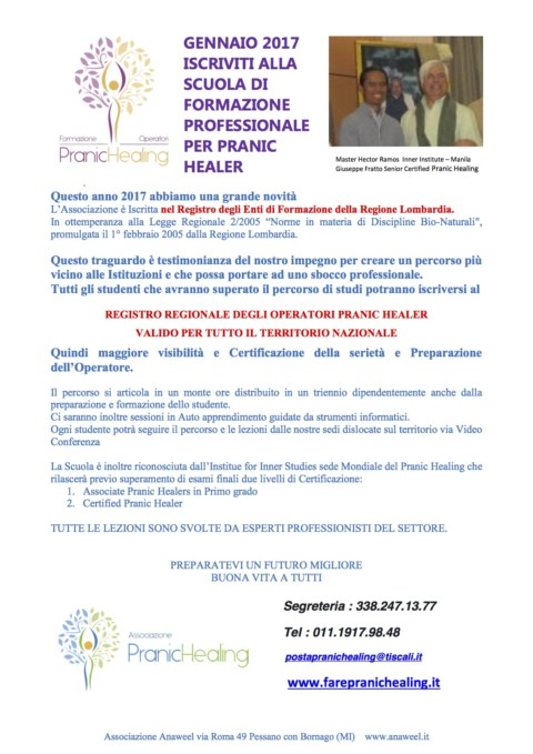 SCUOLA DI  FORMAZIONE  PROFESSIONALE  PER PRANIC  HEALER